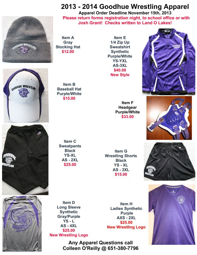 Wrestling Apparel Item Sheet 2013