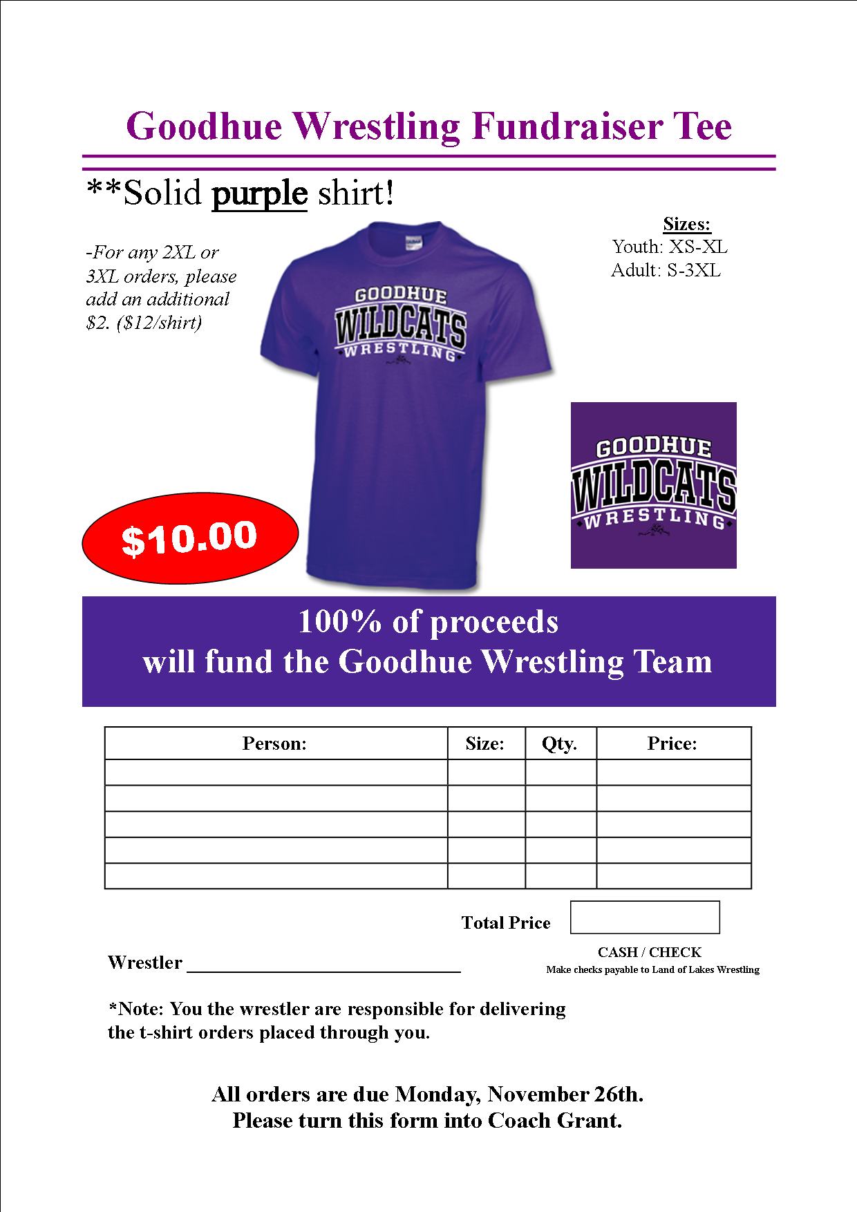Apparel goodhue wrestling for Rainforest t shirt fundraiser