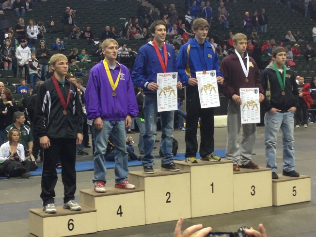 Kyle Drehmel earned 4th place at 126 pounds at the 2013 Class A State Wrestling Tournament